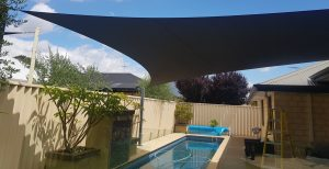 Australian pools are protected with shade sails available to order online